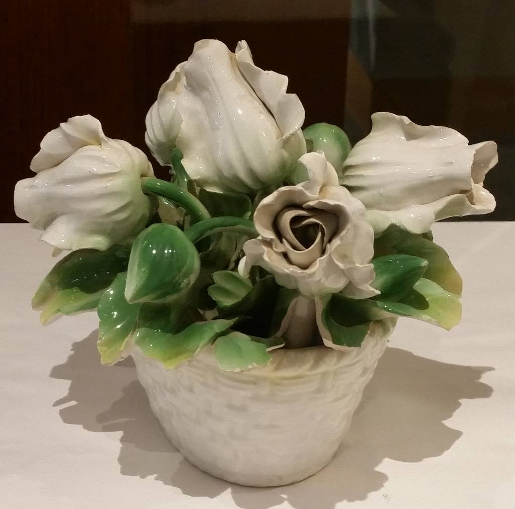 Porcelain Sculpture, Basket of White Flowers