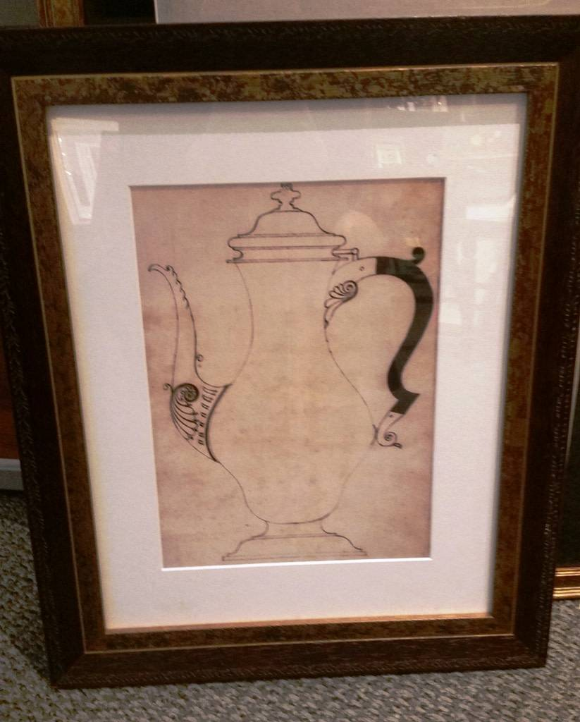Framed William Faris Sketching, Coffee Pot