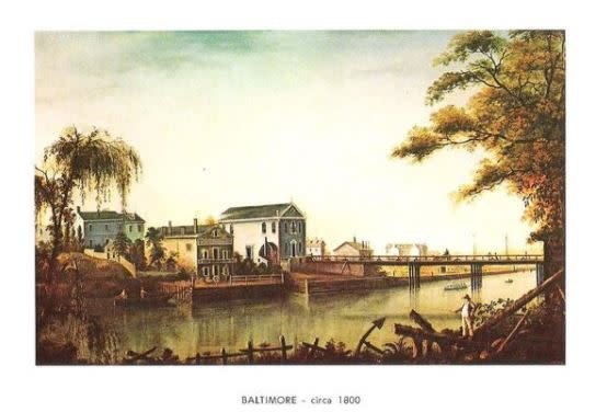 MdHS Note Card Set - View of Baltimore, Lower Jones Falls