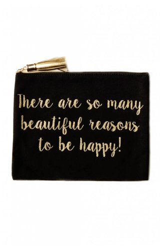 Be Happy Glitter Pouch