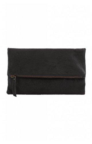 LIN Black Calf Fold Over Clutch