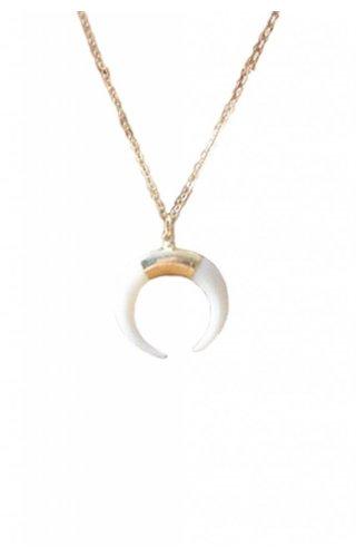 Ewelina Pas Bone Cresent Moon White Necklace