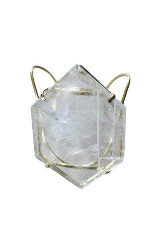 Ewelina Pas Clear Quartz Hexagon Wire Cuff Bracelet