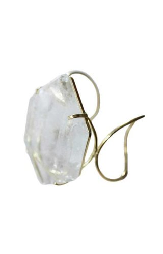 Ewelina Pas Clear Quartz Hexagon Wire Cuff Bracelet