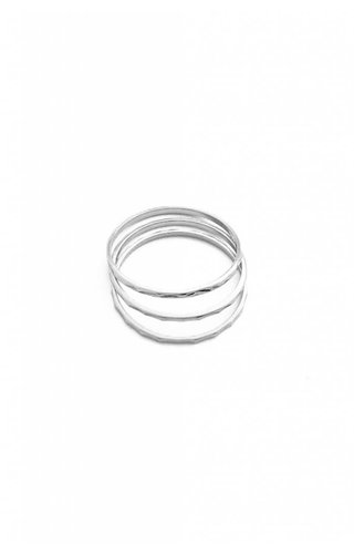Honeycat Hammered Stacking Rings - Trio