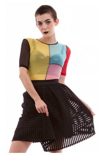 High Waisted Cross Hatch Skirt
