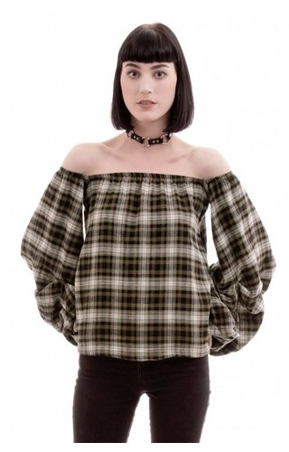 Million Bullpup Mad For Plaid Off-The-Shoulder Top
