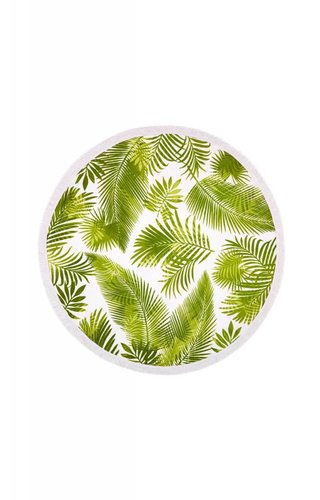 Two's Company Palm Leaf Print Round Beach Towel