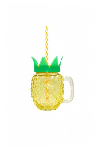 Two's Company Pineapple Mason Jar Cups