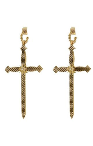 LUV AJ Serpent Cross Hoops