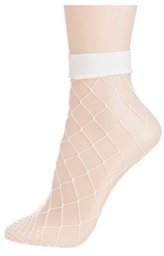 White Fishnet Ankle Socks