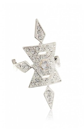 LUV AJ Pave Kite Shield Ring  Silver O/S