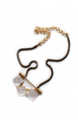 Ewelina Pas Eleos Triple Quartz Pyramid Necklace