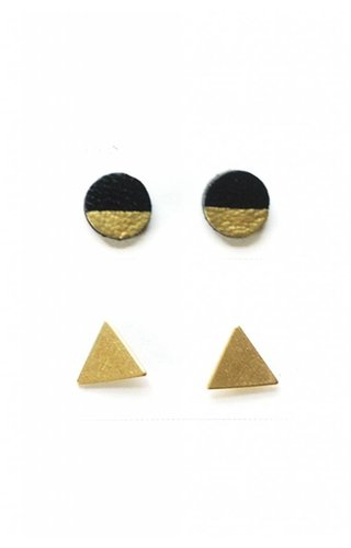 Cold Gold Leather & Triangle Stud Set