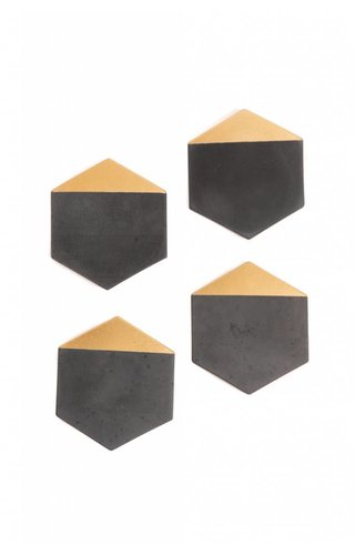 MeAConcrete Black Concrete and Gold Coasters Set of 4