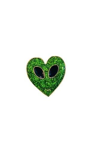Alien Heart Face Pin