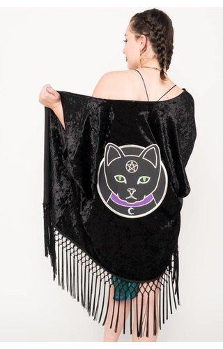 Witch Worldwide Witch Cat Velvet Fringe Kimono O/S