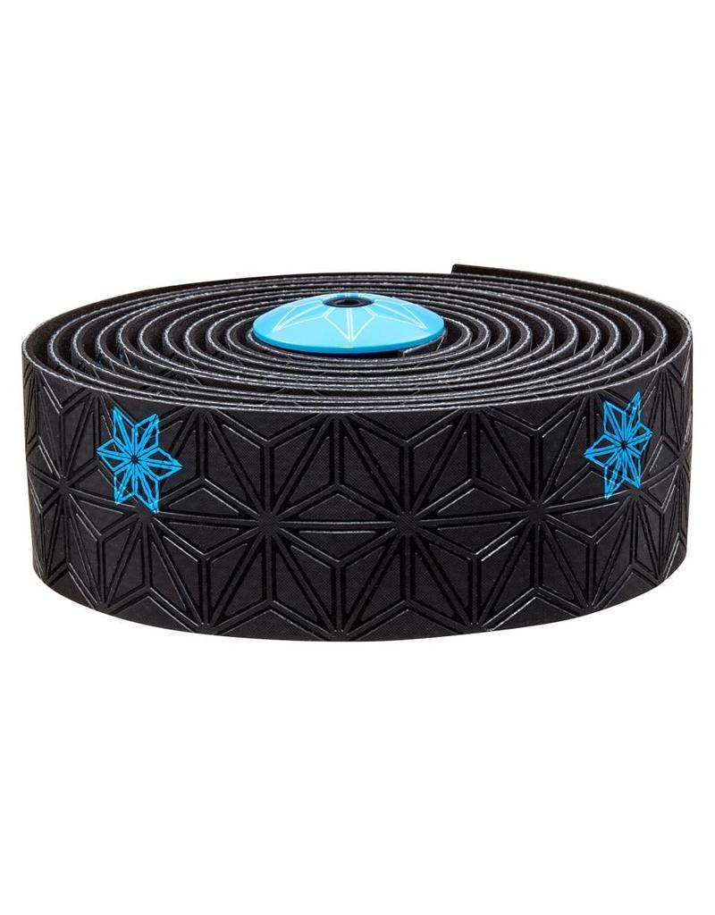Supacaz Supacaz SSK Handlebar Tape, Black and Neon Blue PRINT /set Super Sticky Kush
