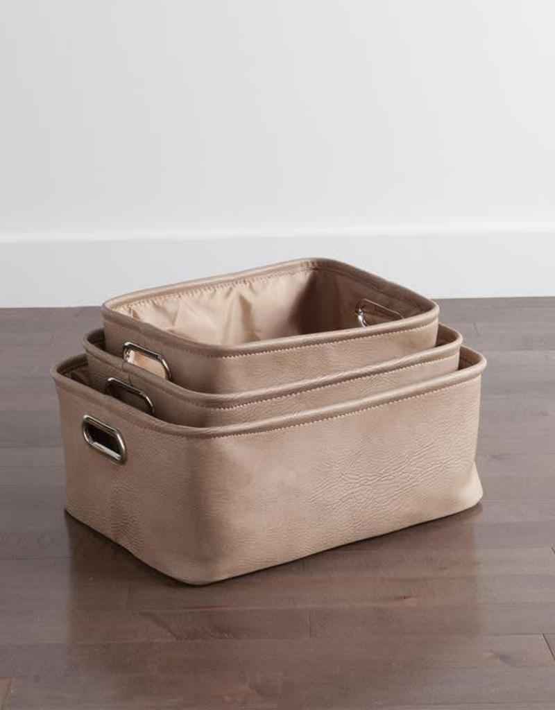 AVENUE FAUX LEATHER TAUPE STORAGE TOTES L