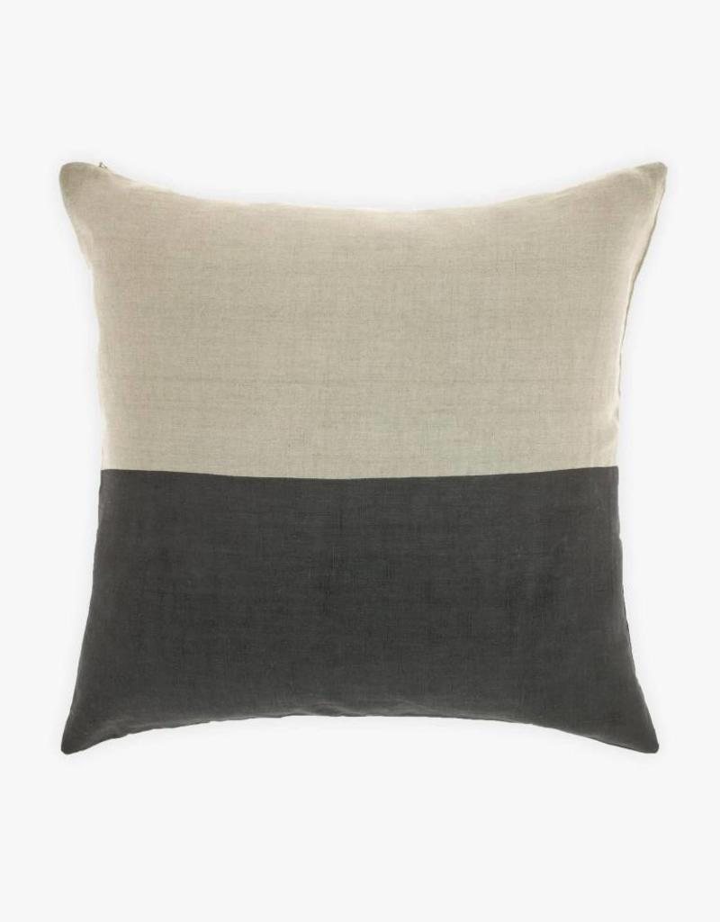 DIPPED LINEN GREY-WHITE CUSHION 20x20