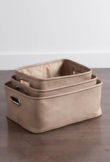 AVENUE FAUX LEATHER TAUPE STORAGE TOTES M