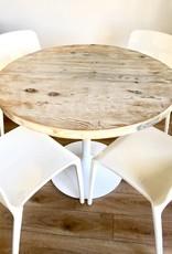 """TABLE À DINER  LOVASI RUSTIQUE CHIC  AVEC BASE TROMPETTE BLANCHE  46"""""""
