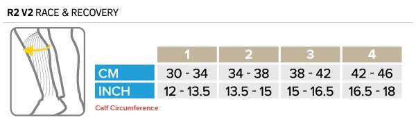 Compressport R2 V2 Calf Sleeve Size Chart