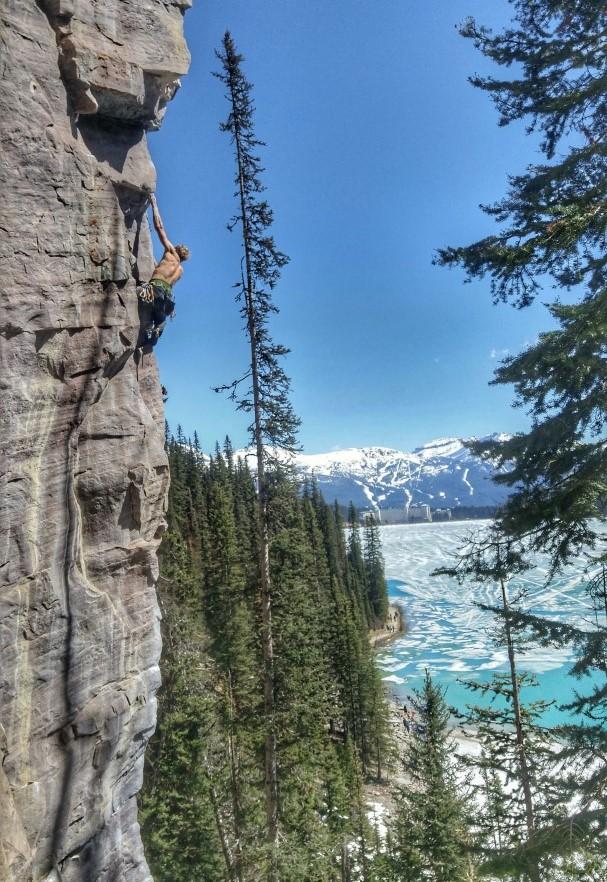 canmore climbing back of the lake lake louise crag