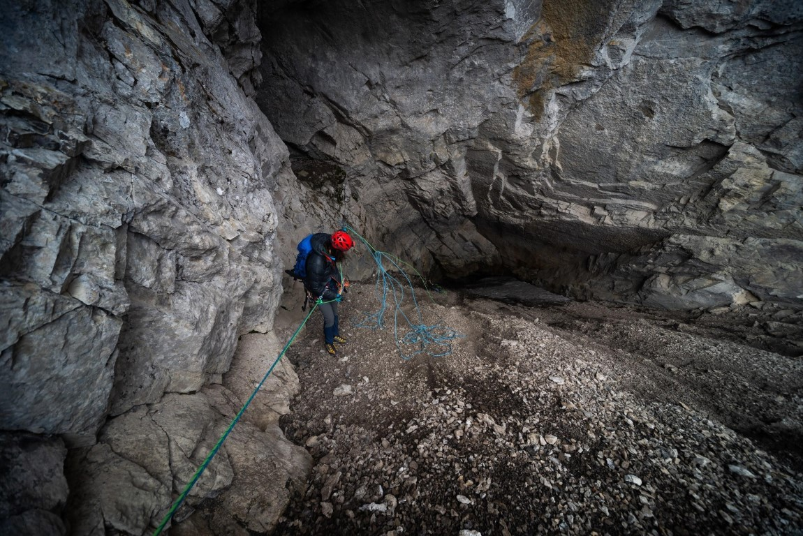 Rappel down Boom Ice Chasm