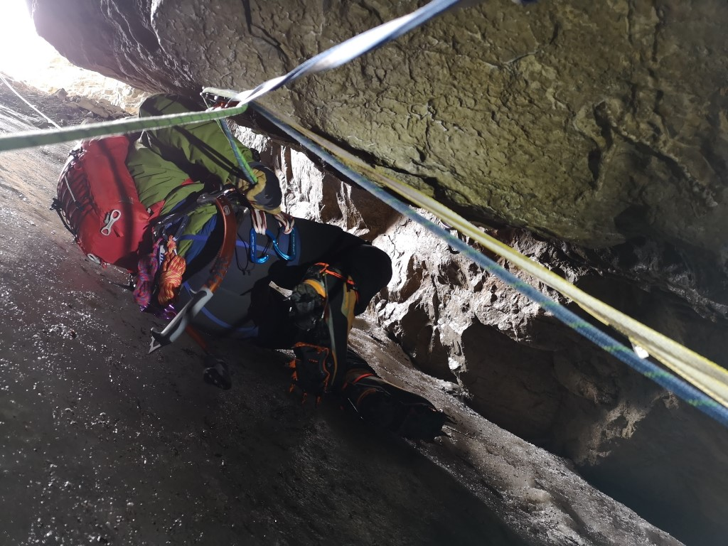 Booming Ice Chasm awkward Belay Station