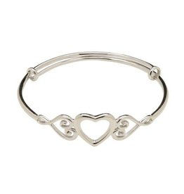 Bangle Heart (Adjustable) - Sterling Silver Infant Bracelet