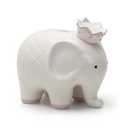 Coco Elephant Bank - White and Pink