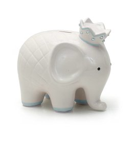 Coco Elephant Bank White and Blue