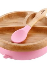 Bamboo Stay-Put Suction Plate and Spoon - Pink
