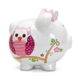 Pink Dotted Owl Pig Bank