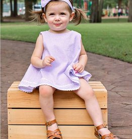 RuffleButts/RuggedButts Lilac Seersucker Swing Top RuffleButt 2pc Set