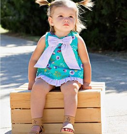 RuffleButts/RuggedButts Sweet Meadow Bow-Front Swing Top RuffleButt 2pc Set