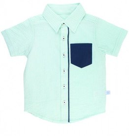RuffleButts/RuggedButts Mint Seersucker Short Sleeve Button Down