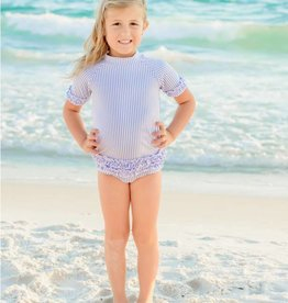 RuffleButts/RuggedButts Periwinkle Blue Seersucker Rash Guard Bikini