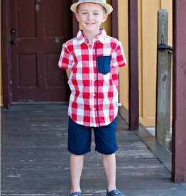RuffleButts/RuggedButts Red Plaid Short Sleeve Button Down