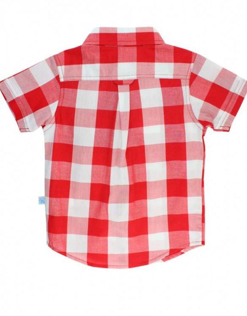 RuffleButts/RuggedButts Red Plaid Short Sleeve Button Down