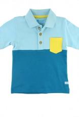 RuffleButts/RuggedButts Blue Color Block 1- Pocket Polo