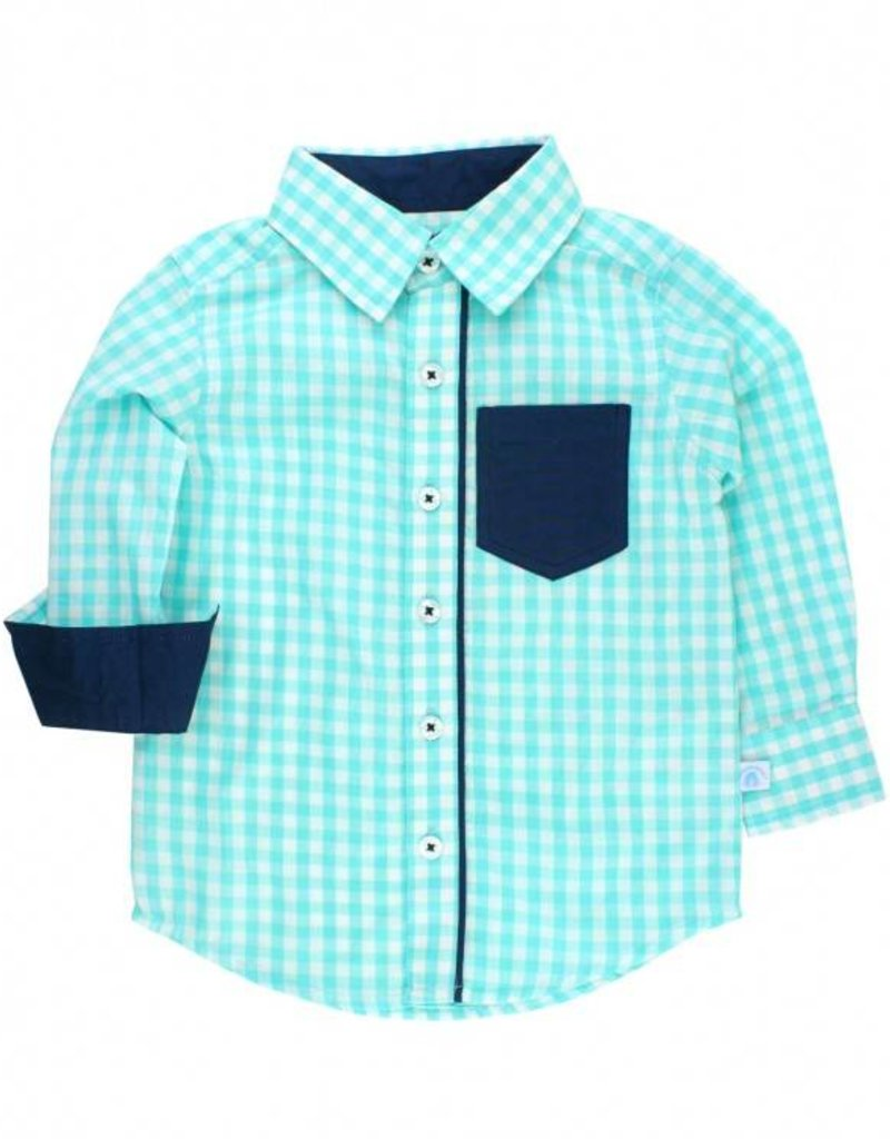 RuffleButts/RuggedButts Seafoam Gingham Long Sleeve Button Down