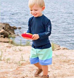 RuffleButts/RuggedButts Blue Color Blocks Swim Trunks