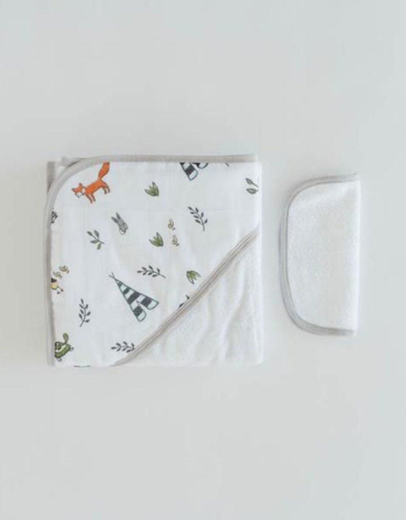 Little Unicorn Cotton Hooded Towel Set- Forest Friends