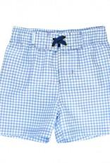 RuffleButts/RuggedButts Light Blue Gingham Swim Trunks