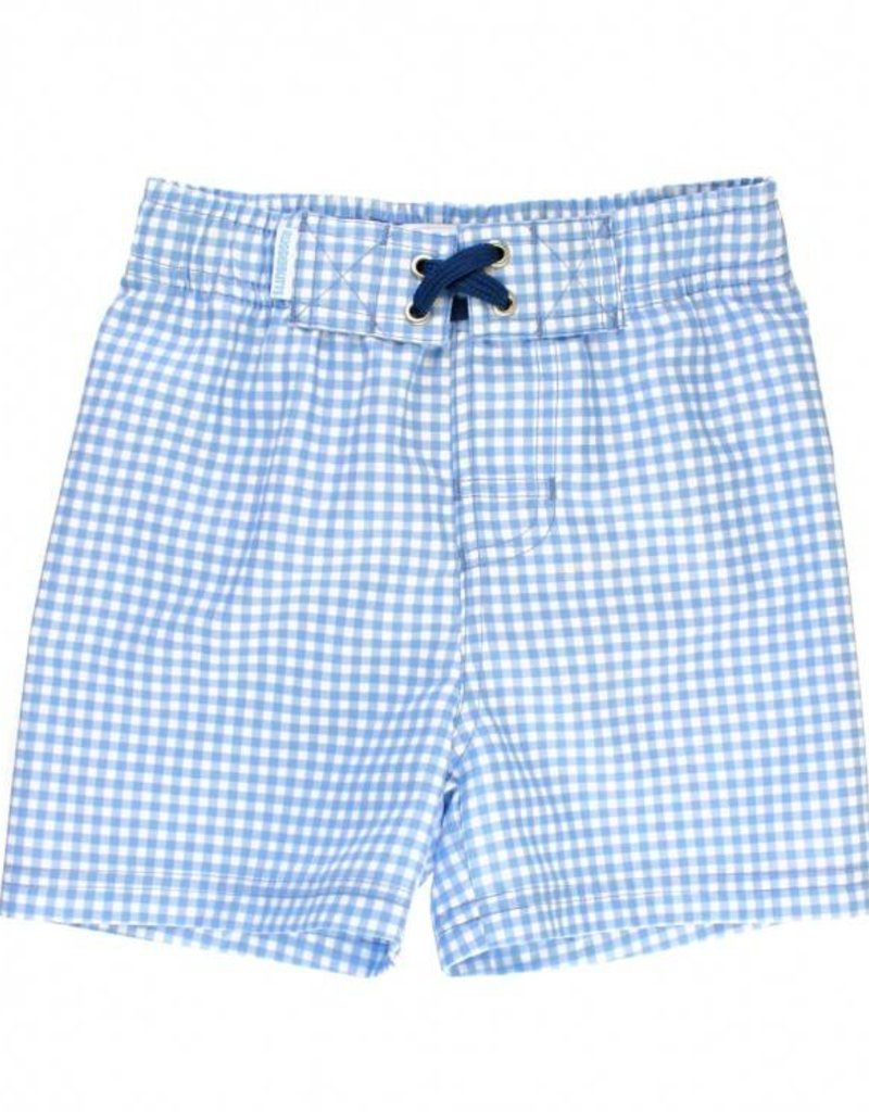 RuffleButts/RuggedButts Light Blue Gingham Swim Trunks