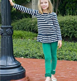 RuffleButts/RuggedButts Navy & White Stripe Peplum Top