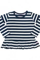 RuffleButts/RuggedButts Navy & White Stripe Peplum Top