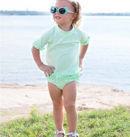 RuffleButts/RuggedButts Mint seersucker rash guard swim